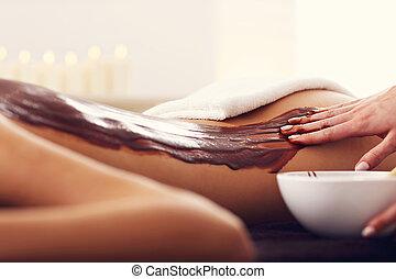belle femme, obtenir, chocolat, spa, masage