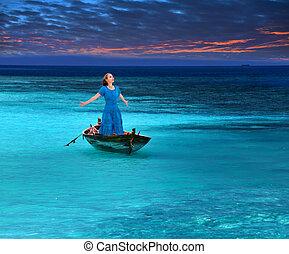 belle femme, orageux, fragile, mer, bateau