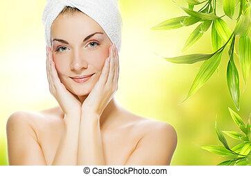 belle femme, organique, elle, jeune, produits de beauté, peau, demande
