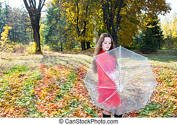 belle femme, parapluie, parc, jeune, automne, fall., portrait