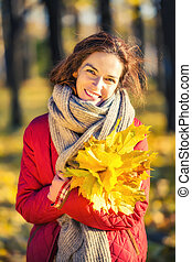 belle femme, parc, jeune, automne, portrait