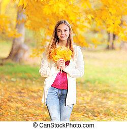 belle femme, parc, jeune, jaune, automne, pousse feuilles, sourire, érable