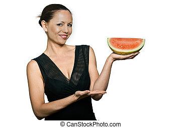 belle femme, pastèque, asiatique, tenue, portrait, sourire