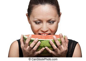 belle femme, pastèque mangeant, asiatique, portrait, closeup