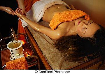 belle femme, paume, avoir, masage