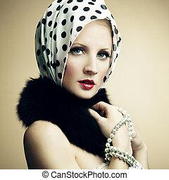 belle femme, perle, jeune, p, mode, necklace., portrait