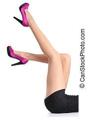 belle femme, pointage, collants, fuchsia, haut haut, talons, jambes