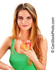 belle femme, pomme, mûre, jeune, main, elle, tenue, rouges