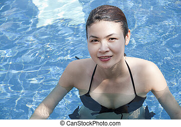 belle femme, pool., natation