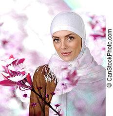 belle femme, positif, musulman, portrait, sourire