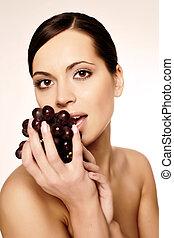 belle femme, raisin, jeune