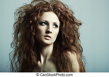 belle femme, redheaded, jeune, mode, portrait