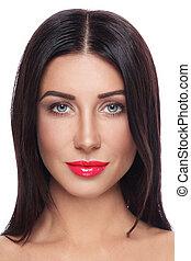 belle femme, rouge lèvres, jeune, portrait, bronzé, rouges