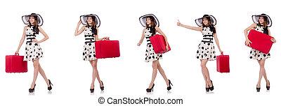 belle femme, rouges, valise