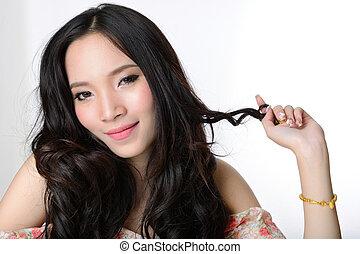 belle femme, sain, longs cheveux, asiatique, portrait, sourire
