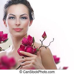 belle femme, sain, printemps, flowers., spa