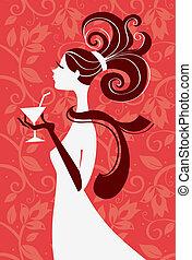 belle femme, silhouette, main, illustration, verre, vecteur