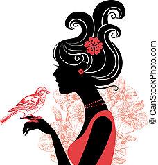 belle femme, silhouette, oiseau