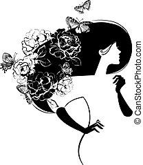belle femme, silhouette, papillons, fleurs, haer