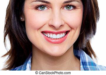 belle femme, smile.