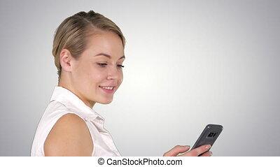 belle femme, sms, écrit, jeune, canal alpha