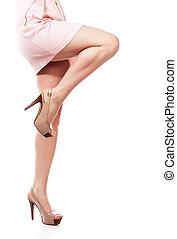 belle femme, sur, isolé, blanc, jambes