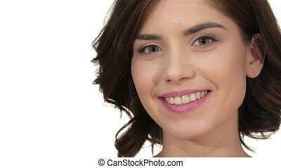 belle femme, sur, jeune, fond, maquillage, portrait, élégant, blanc
