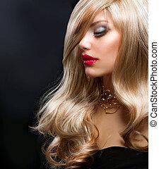 belle femme, sur, noir, blonds, hair.