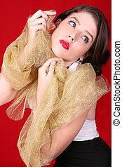 belle femme, tissu, or, contre, figure, elle, tenue