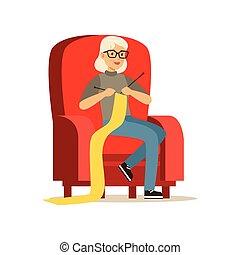belle femme, tricot, séance, fauteuil, illustration, vecteur, personne agee