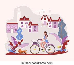 belle femme, vélo, elle, chouchou, chien, propriétaire