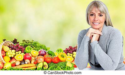 belle femme, vegetables., fruits