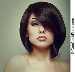 belle femme, vendange, maquillage, figure, cheveux, court,...
