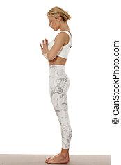 belle femme, yoga, jeune