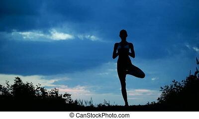 belle femme, yoga, sain, jeune, exercice