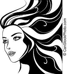 belle fille bien pomponnée, noir, cheveux