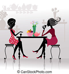 belle ragazze, caffè, silhouette