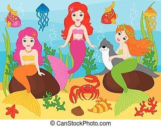belle vie, ensemble, sirènes, vecteur, mer, éléments