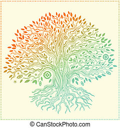 belle vie, vendange, arbre, main, dessiné