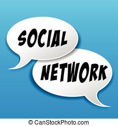 bellen, concept, toespraak, netwerk, sociaal
