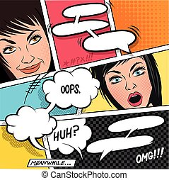 bellen, toespraak, spotprent, vrouwen