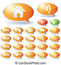 bellen, toespraak, verzameling, internet