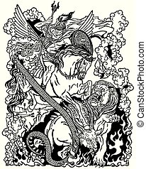 the mythological hero Bellerophon or Bellerophontes riding the divine winged horse Pegasus and fighting the monster creature as the Chimera . Ancient Greek mythology . Black and white graphic vector illustration