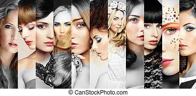 belles femmes, faces, collage