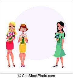 belles femmes, trois filles, tas, fleurs avoirs, amis, debout