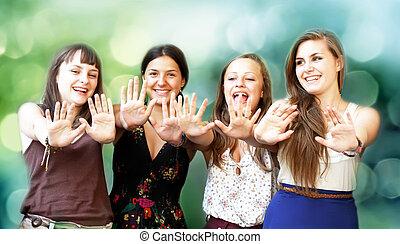 belles filles, étudiant, amusement, sourire, avoir