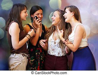 belles filles, appel téléphonique, étudiant, pendant, heureux