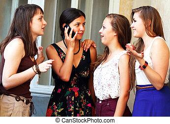 belles filles, appel téléphonique, étudiant, pendant