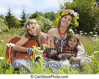 belles filles, de, hippie, dans, les, champ