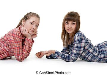 belles filles, deux, jeune